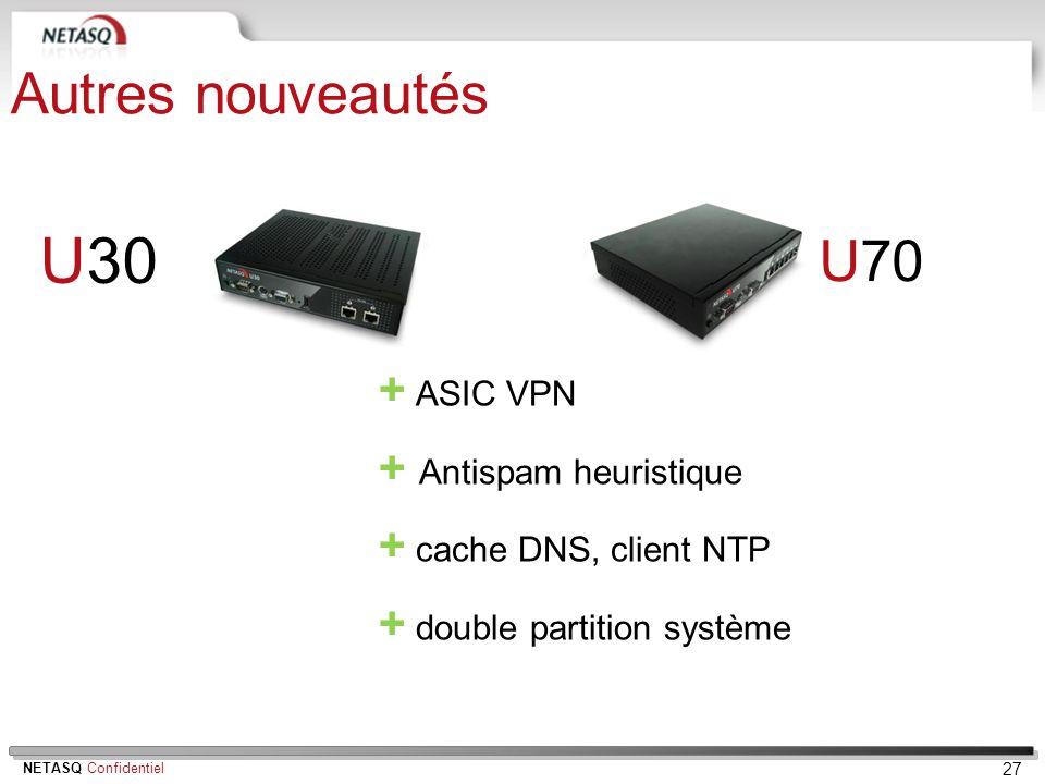 U30 Autres nouveautés U70 + ASIC VPN + Antispam heuristique