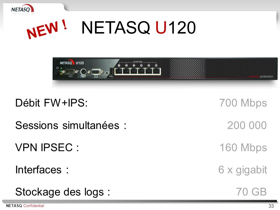 NETASQ U120 NEW ! Débit FW+IPS: Sessions simultanées : VPN IPSEC :