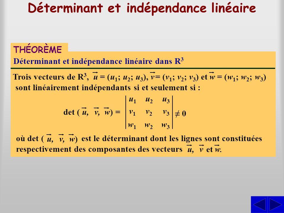 Déterminant et indépendance linéaire