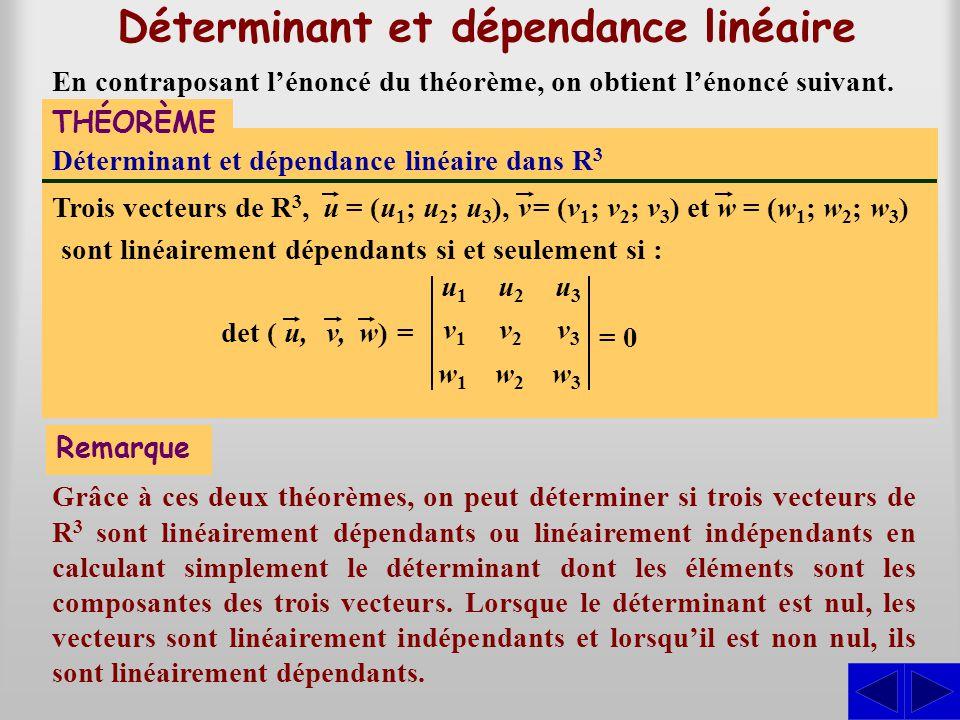 Déterminant et dépendance linéaire