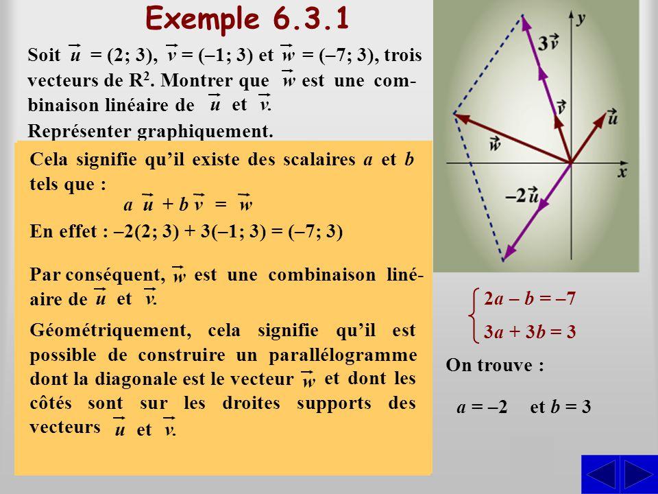 Exemple 6.3.1 S S S est une com-binaison linéaire de Soit