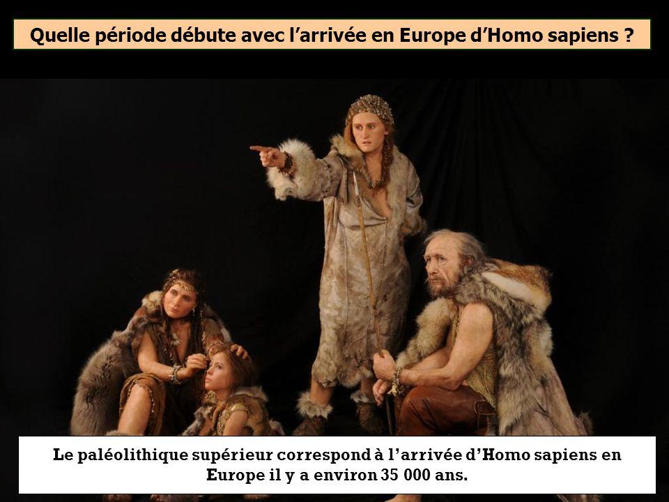 Quelle période débute avec l'arrivée en Europe d'Homo sapiens