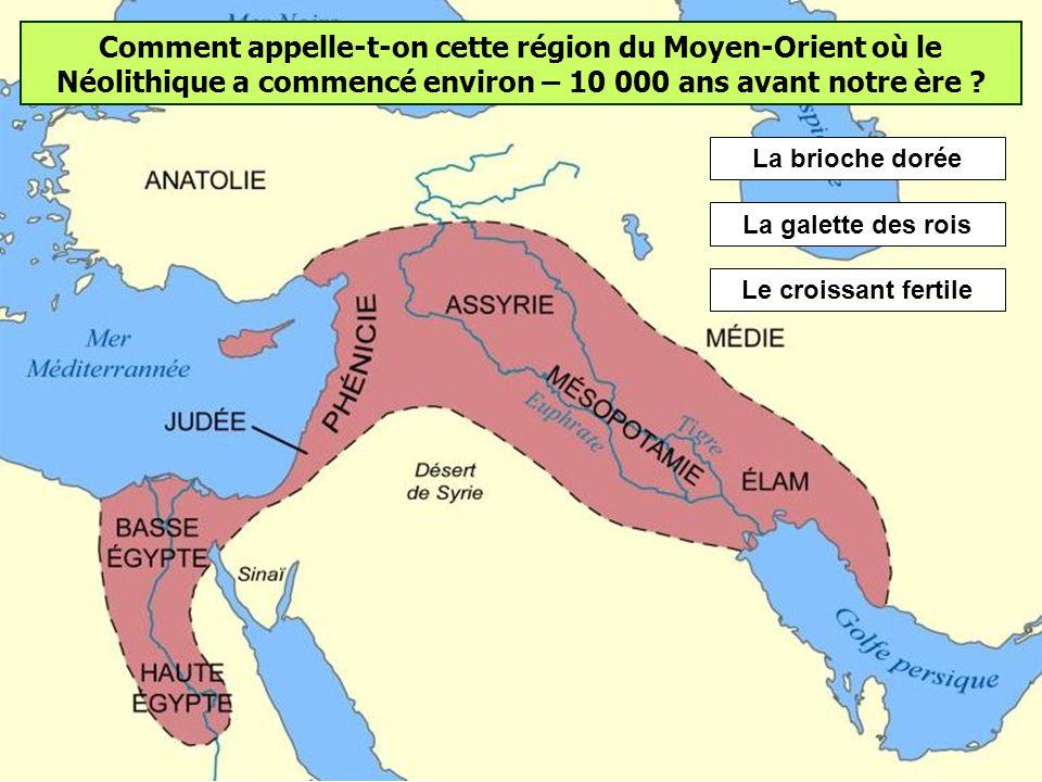 Comment appelle-t-on cette région du Moyen-Orient où le Néolithique a commencé environ – 10 000 ans avant notre ère