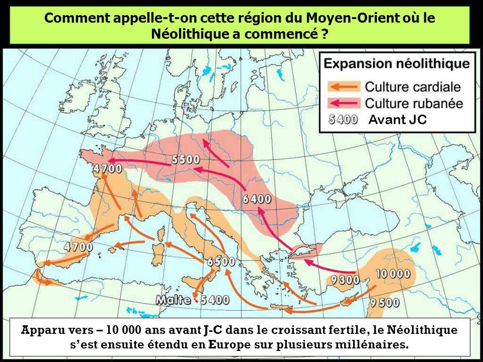 Comment appelle-t-on cette région du Moyen-Orient où le Néolithique a commencé
