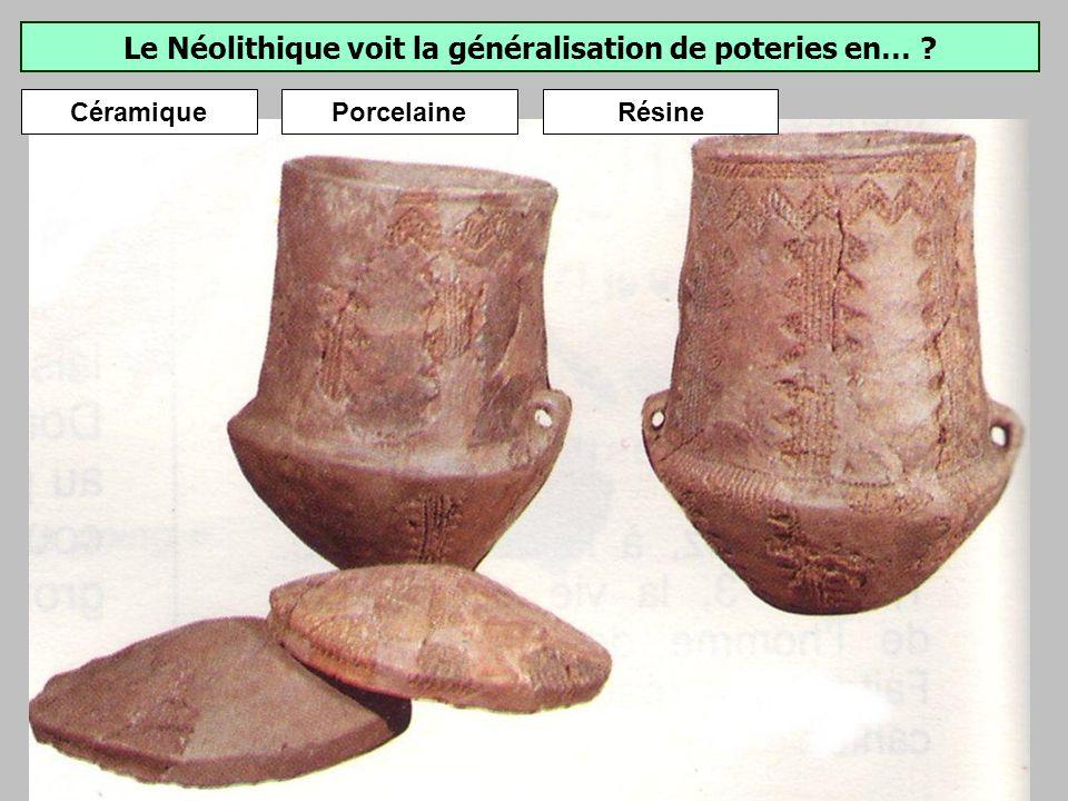 Le Néolithique voit la généralisation de poteries en…