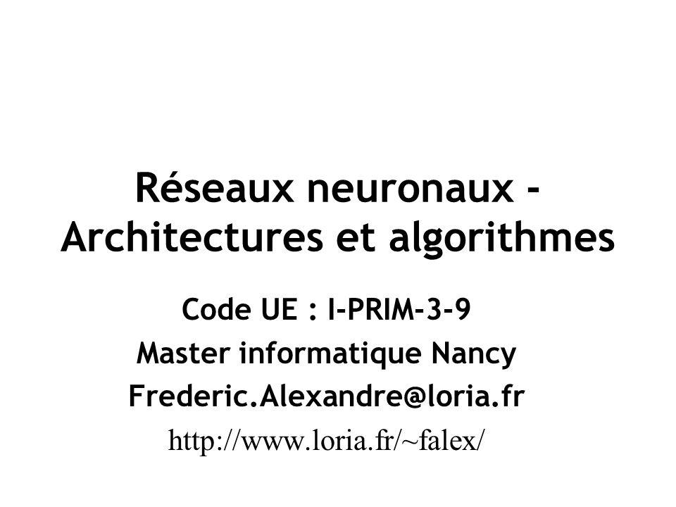Réseaux neuronaux - Architectures et algorithmes