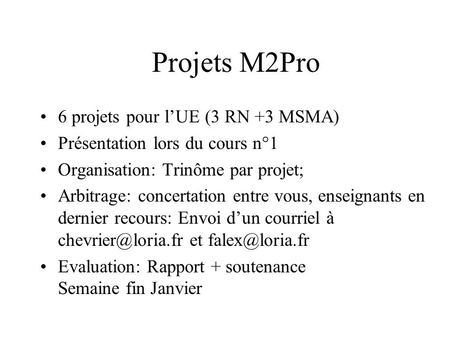 Projets M2Pro 6 projets pour l'UE (3 RN +3 MSMA)