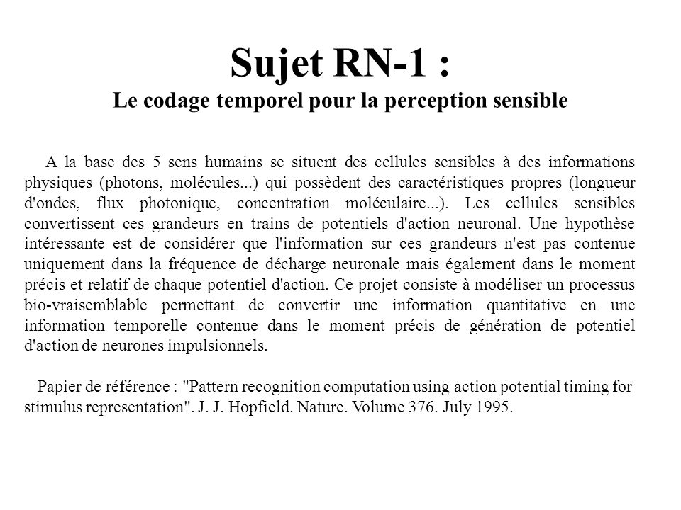 Sujet RN-1 : Le codage temporel pour la perception sensible