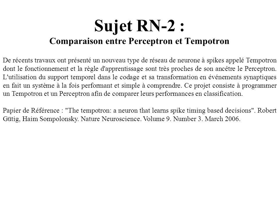 Sujet RN-2 : Comparaison entre Perceptron et Tempotron