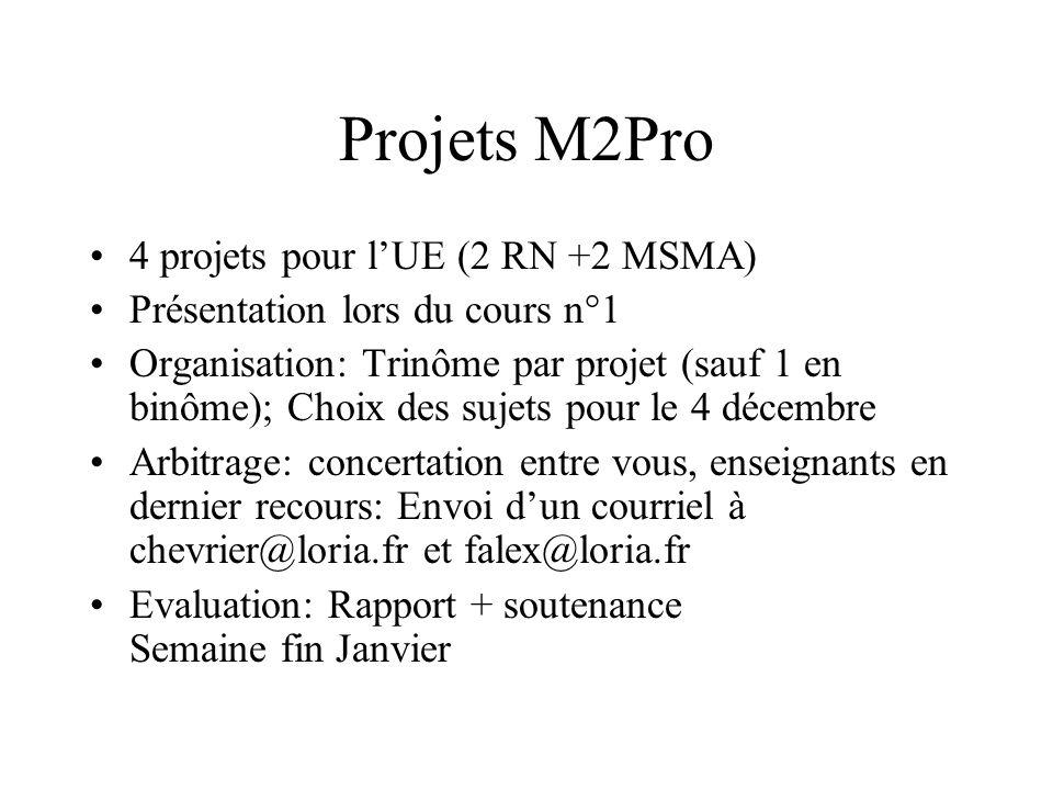 Projets M2Pro 4 projets pour l'UE (2 RN +2 MSMA)