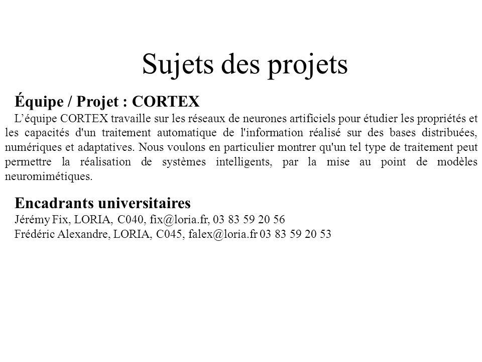 Sujets des projets Équipe / Projet : CORTEX Encadrants universitaires