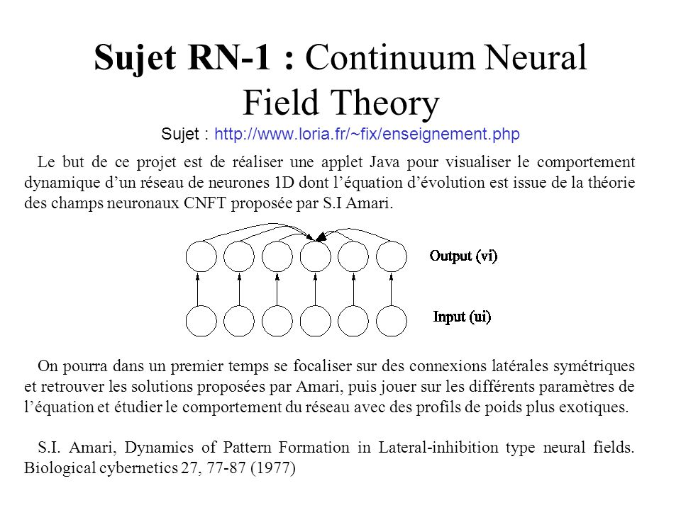 Sujet RN-1 : Continuum Neural Field Theory Sujet : http://www. loria