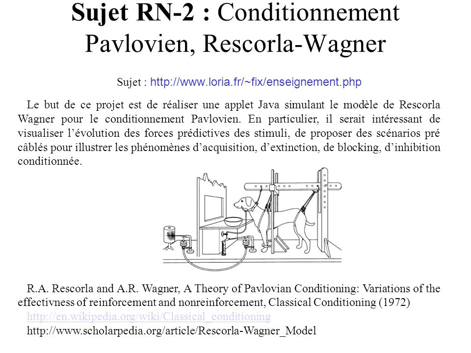 Sujet RN-2 : Conditionnement Pavlovien, Rescorla-Wagner Sujet : http://www.loria.fr/~fix/enseignement.php