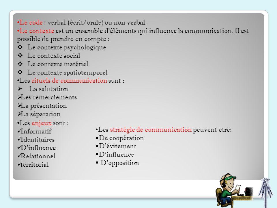 Le code : verbal (écrit/orale) ou non verbal.
