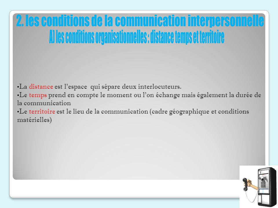 2. les conditions de la communication interpersonnelle