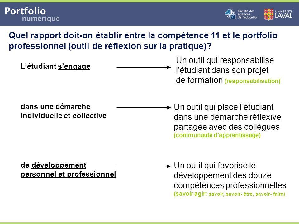 Quel rapport doit-on établir entre la compétence 11 et le portfolio professionnel (outil de réflexion sur la pratique)