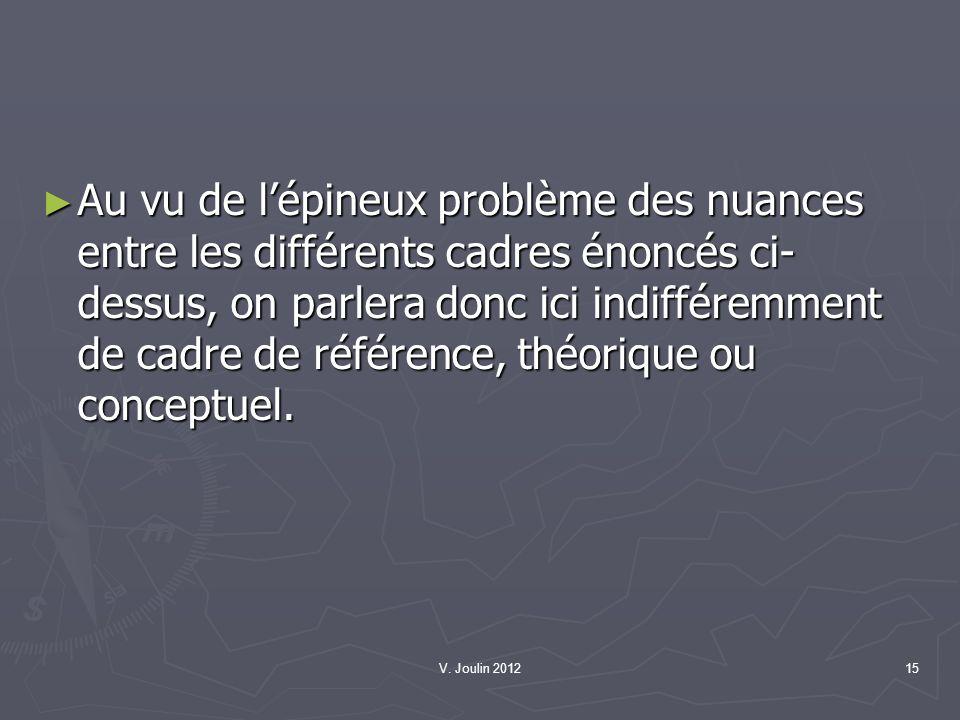 Au vu de l'épineux problème des nuances entre les différents cadres énoncés ci-dessus, on parlera donc ici indifféremment de cadre de référence, théorique ou conceptuel.