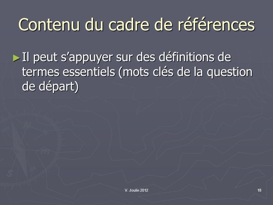 Contenu du cadre de références