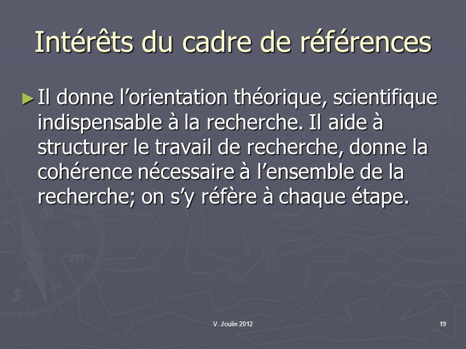 Intérêts du cadre de références