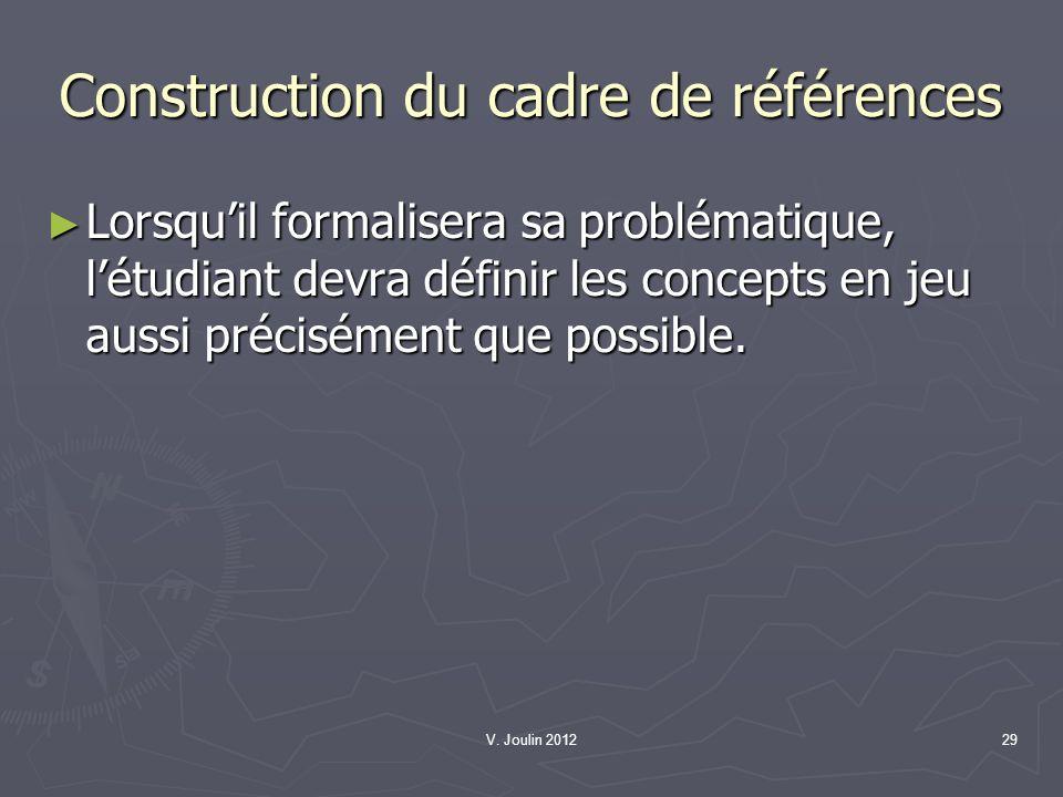 Construction du cadre de références