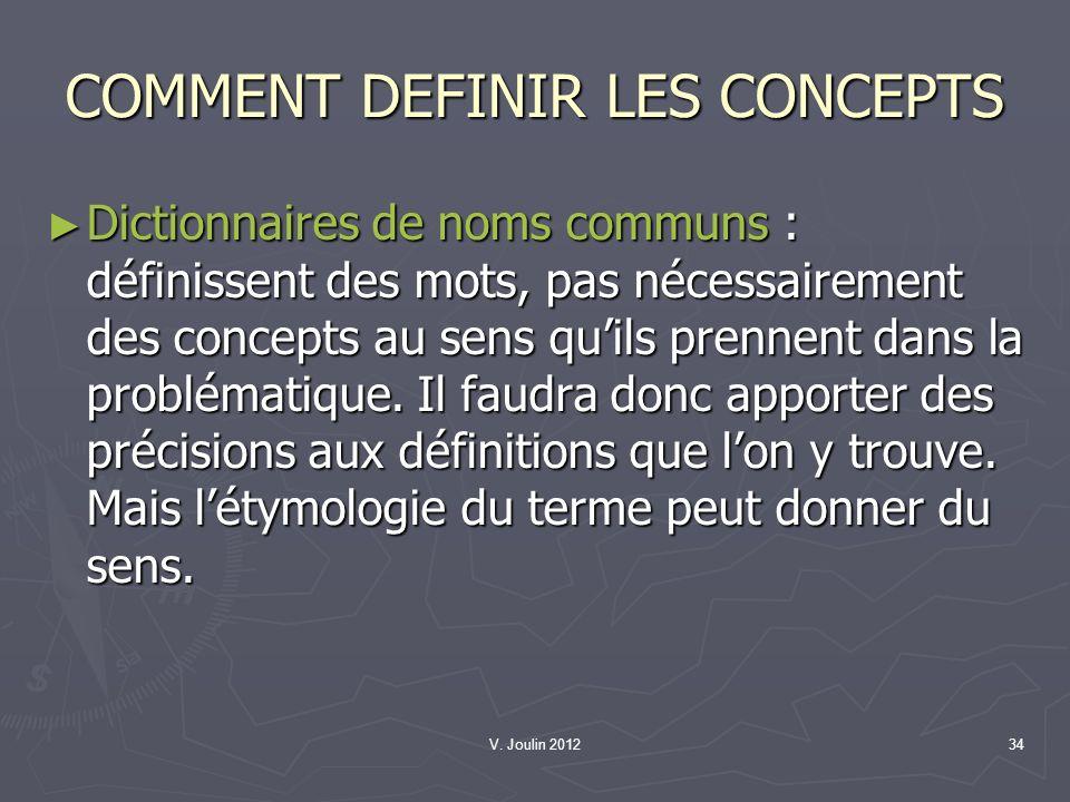 COMMENT DEFINIR LES CONCEPTS