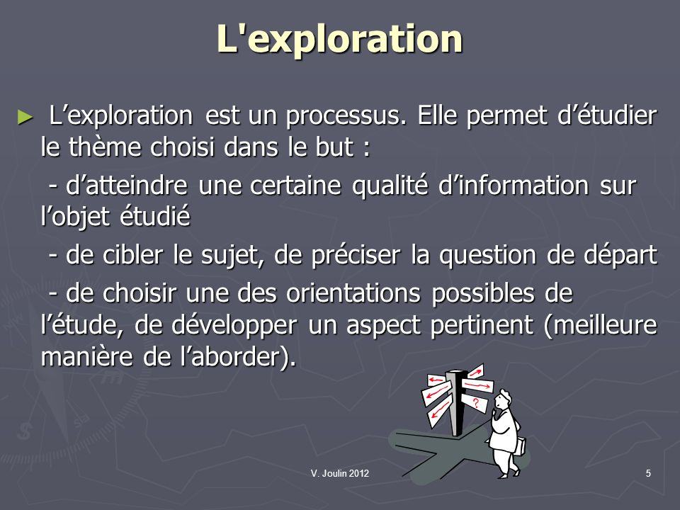 L exploration L'exploration est un processus. Elle permet d'étudier le thème choisi dans le but :