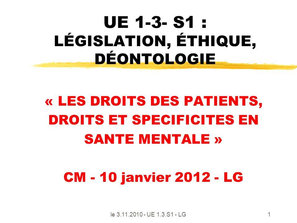 UE 1-3- S1 : LÉGISLATION, ÉTHIQUE, DÉONTOLOGIE