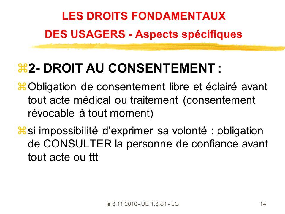 LES DROITS FONDAMENTAUX DES USAGERS - Aspects spécifiques