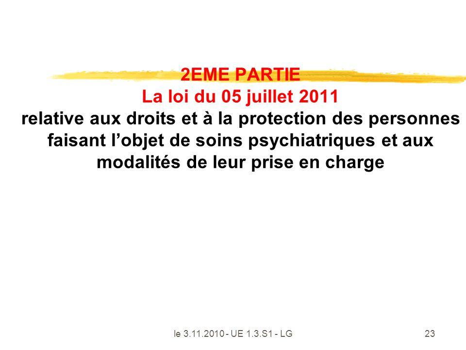 2EME PARTIE La loi du 05 juillet 2011 relative aux droits et à la protection des personnes faisant l'objet de soins psychiatriques et aux modalités de leur prise en charge
