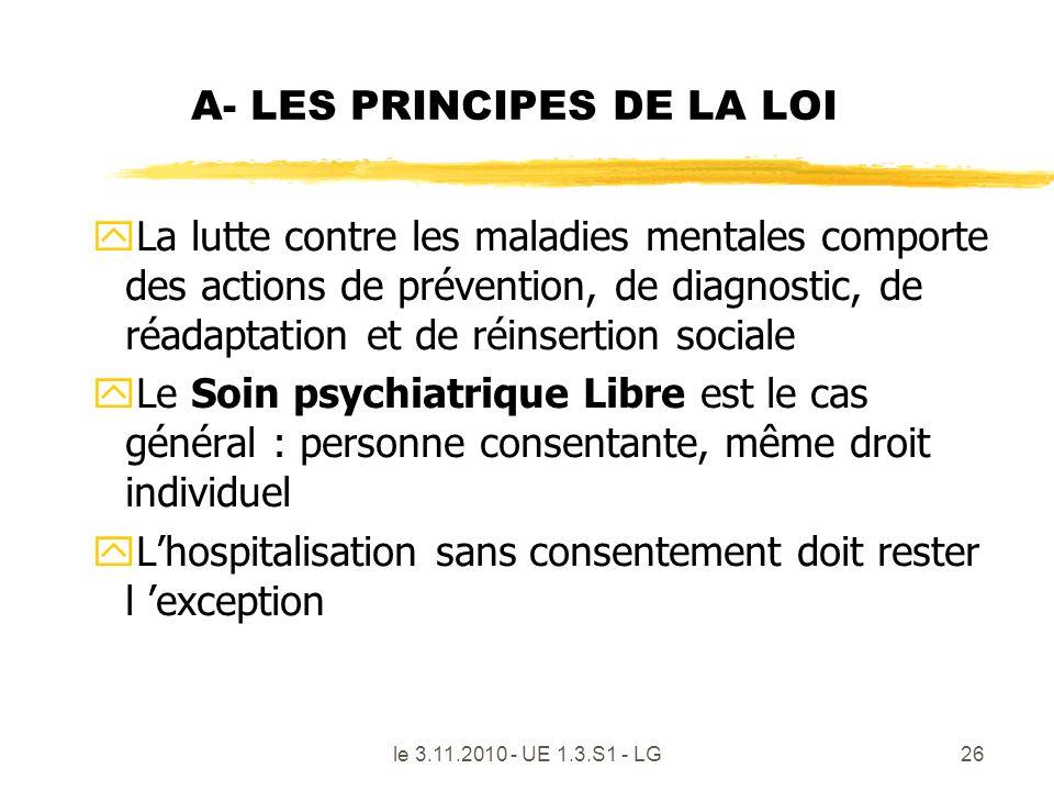 A- LES PRINCIPES DE LA LOI