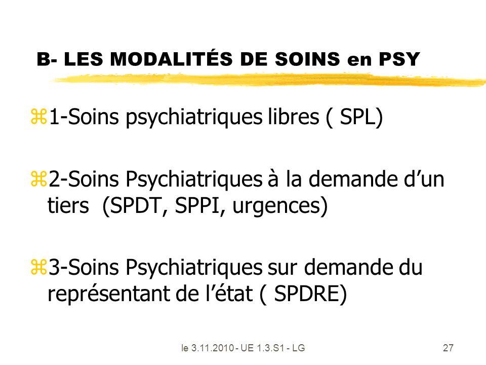 B- LES MODALITÉS DE SOINS en PSY