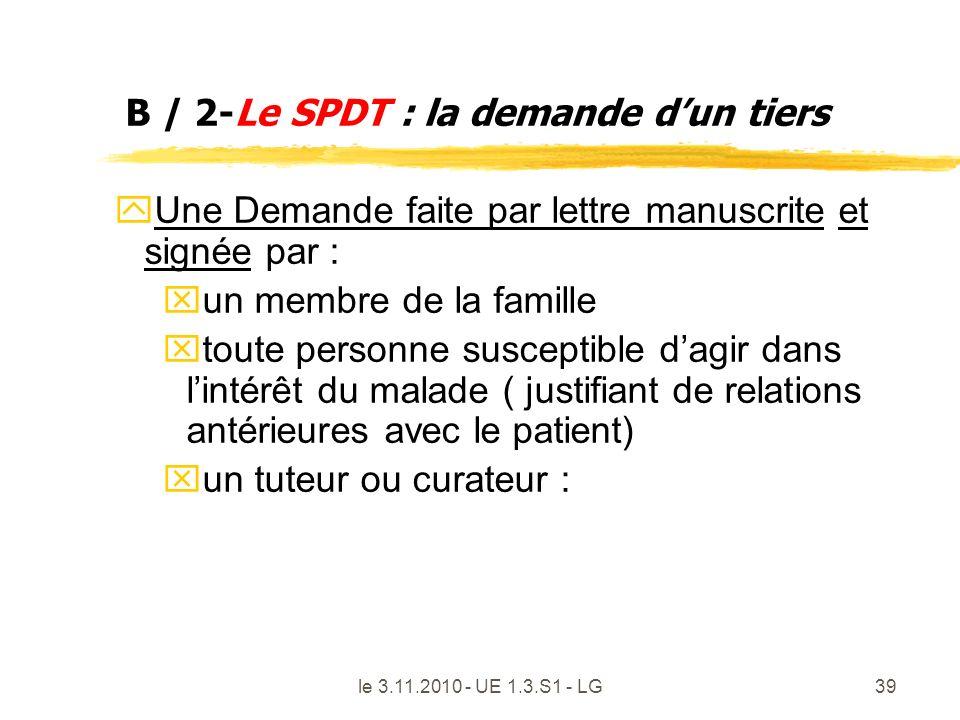 B / 2-Le SPDT : la demande d'un tiers