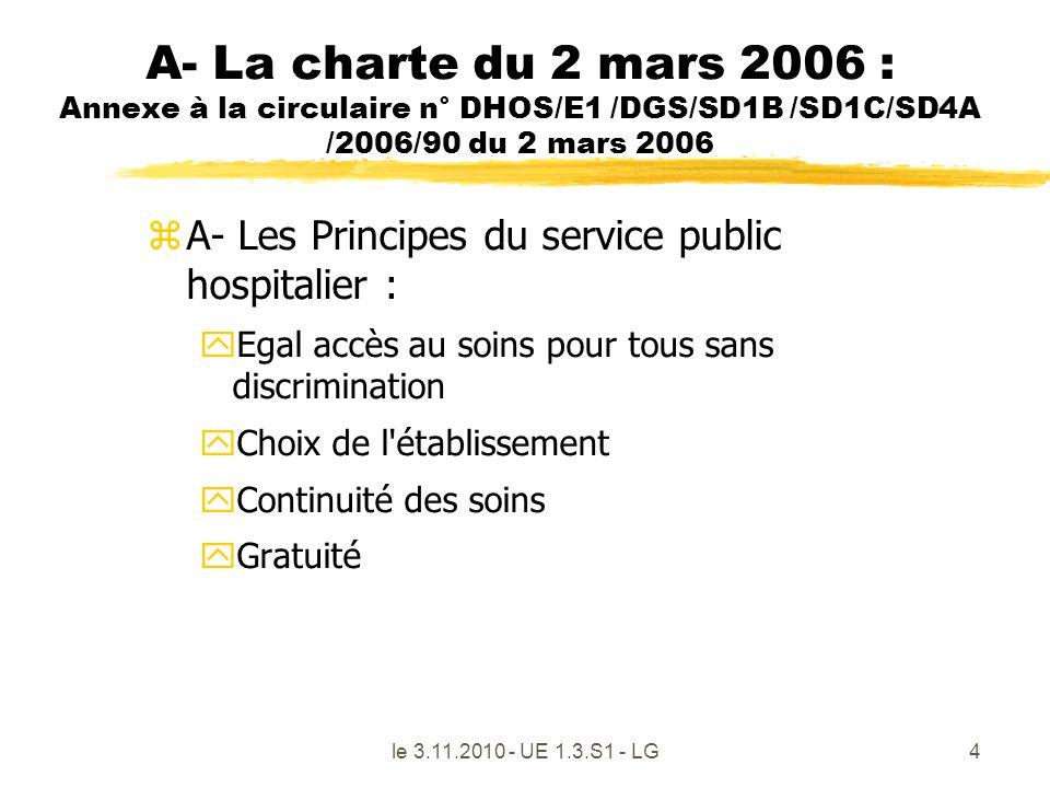 A- La charte du 2 mars 2006 : Annexe à la circulaire n° DHOS/E1 /DGS/SD1B /SD1C/SD4A /2006/90 du 2 mars 2006