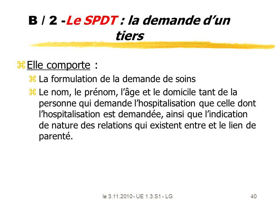 B / 2 -Le SPDT : la demande d'un tiers