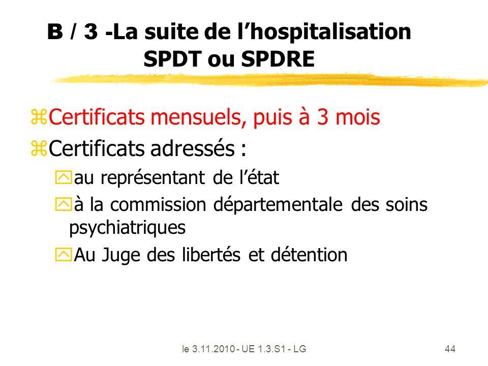 B / 3 -La suite de l'hospitalisation SPDT ou SPDRE