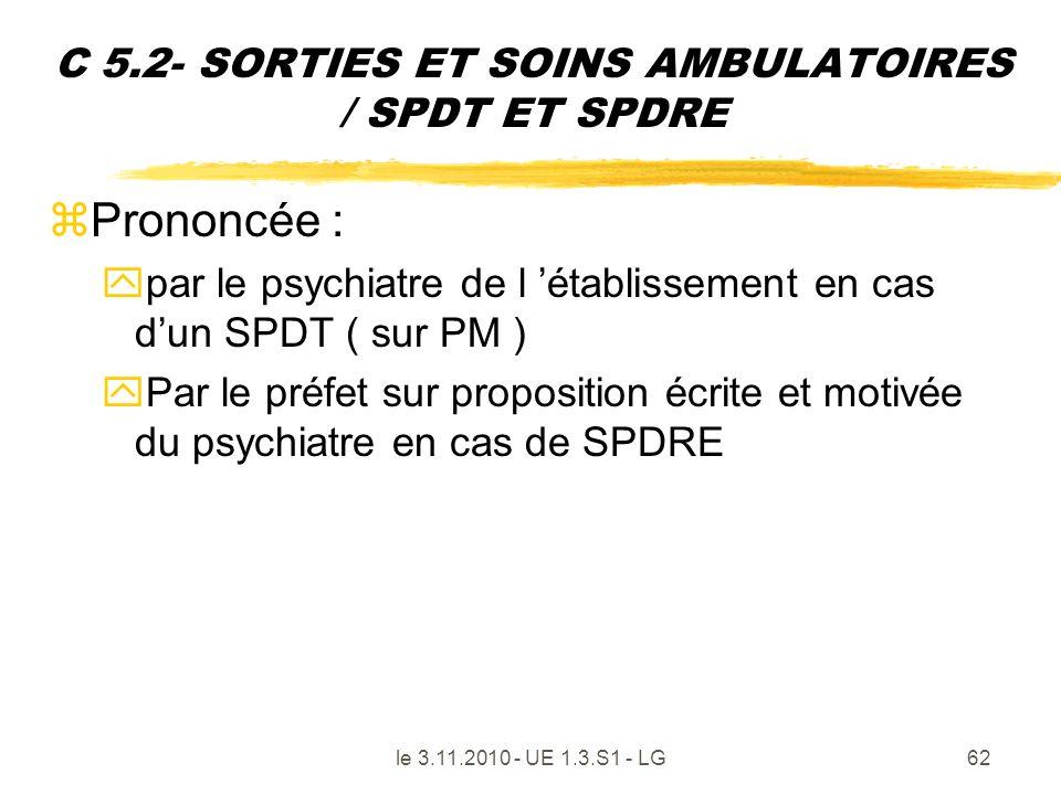 C 5.2- SORTIES ET SOINS AMBULATOIRES / SPDT ET SPDRE