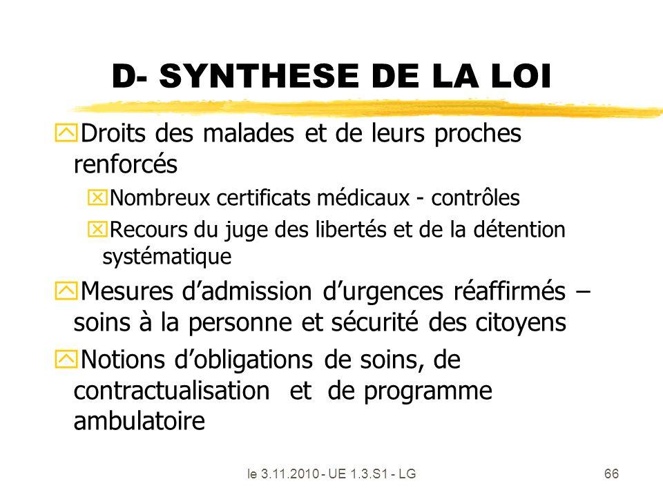 D- SYNTHESE DE LA LOI Droits des malades et de leurs proches renforcés