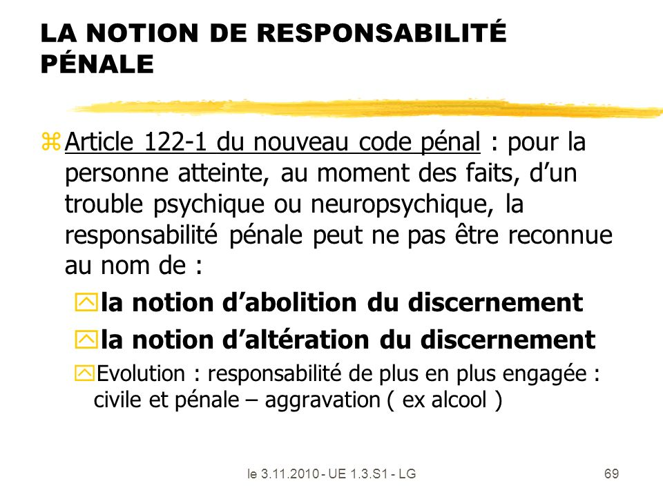 LA NOTION DE RESPONSABILITÉ PÉNALE