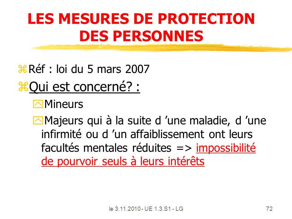 LES MESURES DE PROTECTION DES PERSONNES