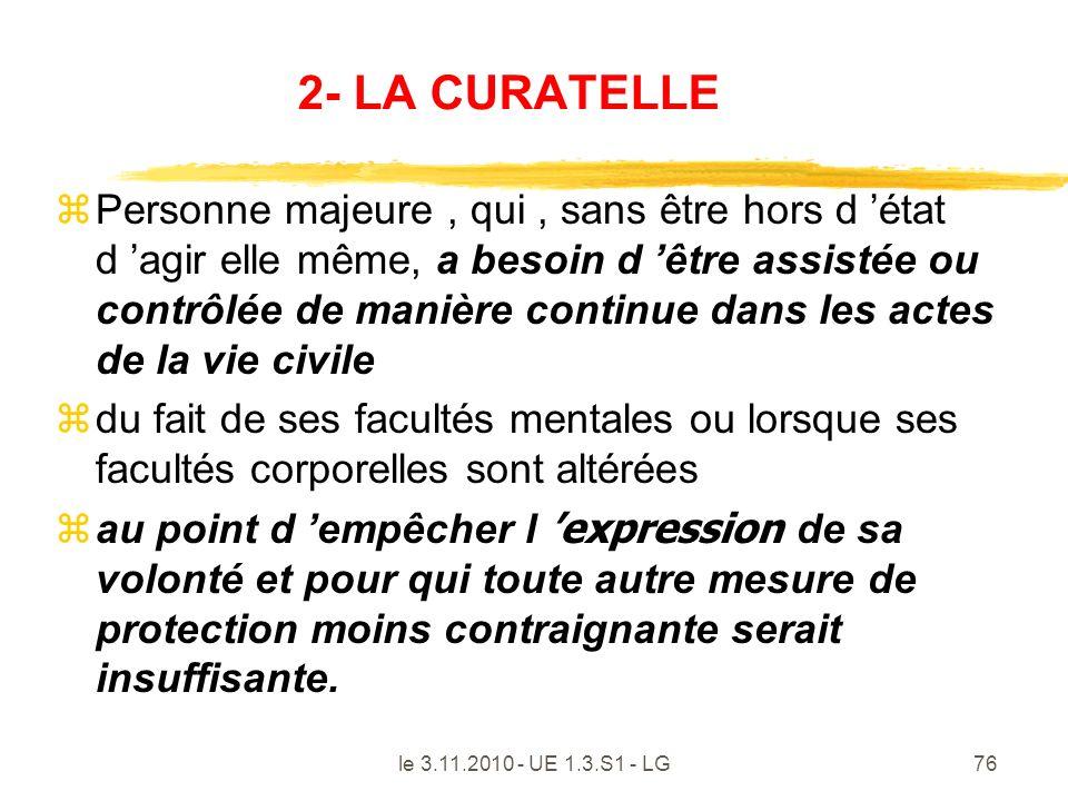 2- LA CURATELLE