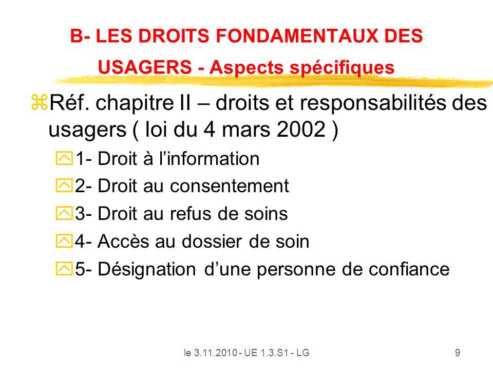 B- LES DROITS FONDAMENTAUX DES USAGERS - Aspects spécifiques