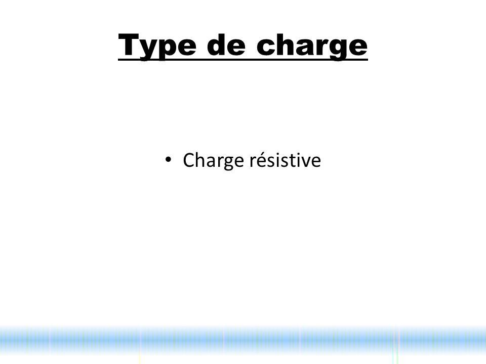 Type de charge Charge résistive