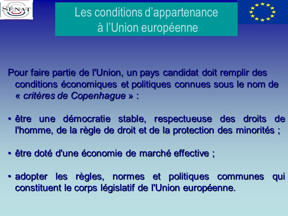 Les conditions d'appartenance