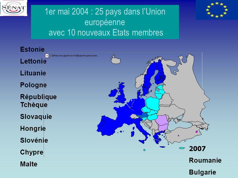 1er mai 2004 : 25 pays dans l'Union européenne
