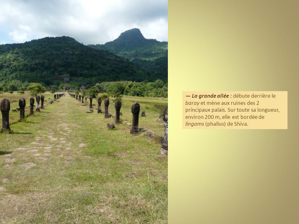 — La grande allée : débute derrière le baray et mène aux ruines des 2 principaux palais.