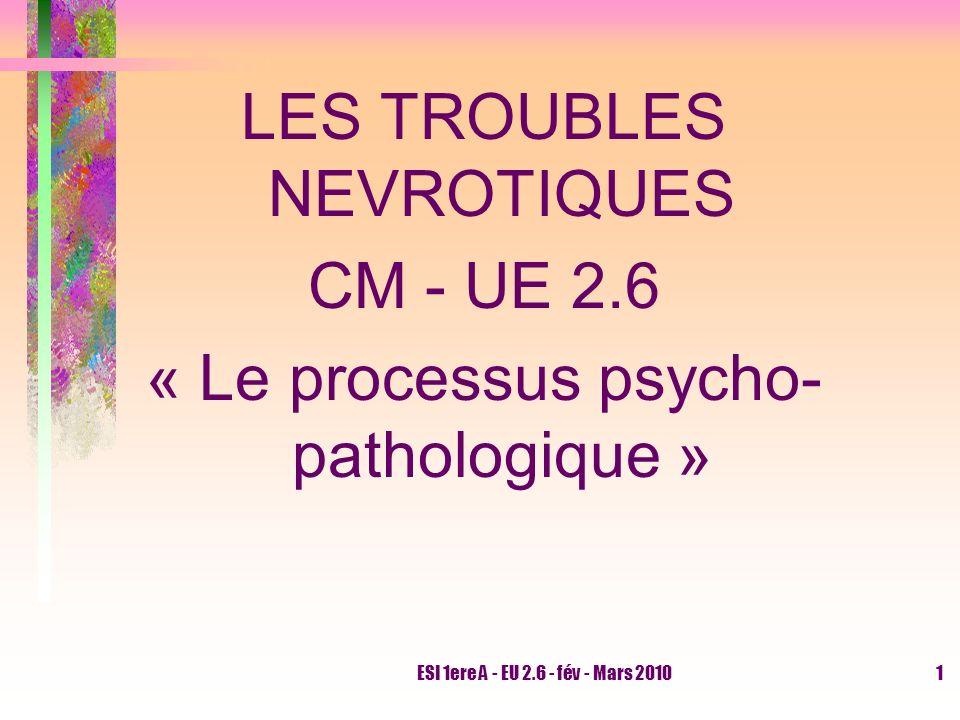 LES TROUBLES NEVROTIQUES CM - UE 2.6