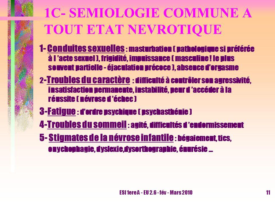 1C- SEMIOLOGIE COMMUNE A TOUT ETAT NEVROTIQUE