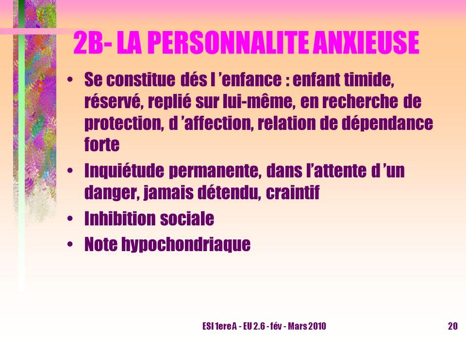 2B- LA PERSONNALITE ANXIEUSE