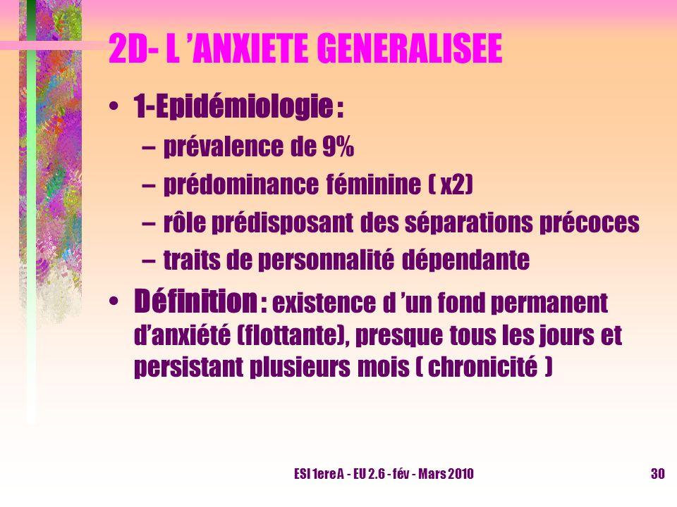 2D- L 'ANXIETE GENERALISEE