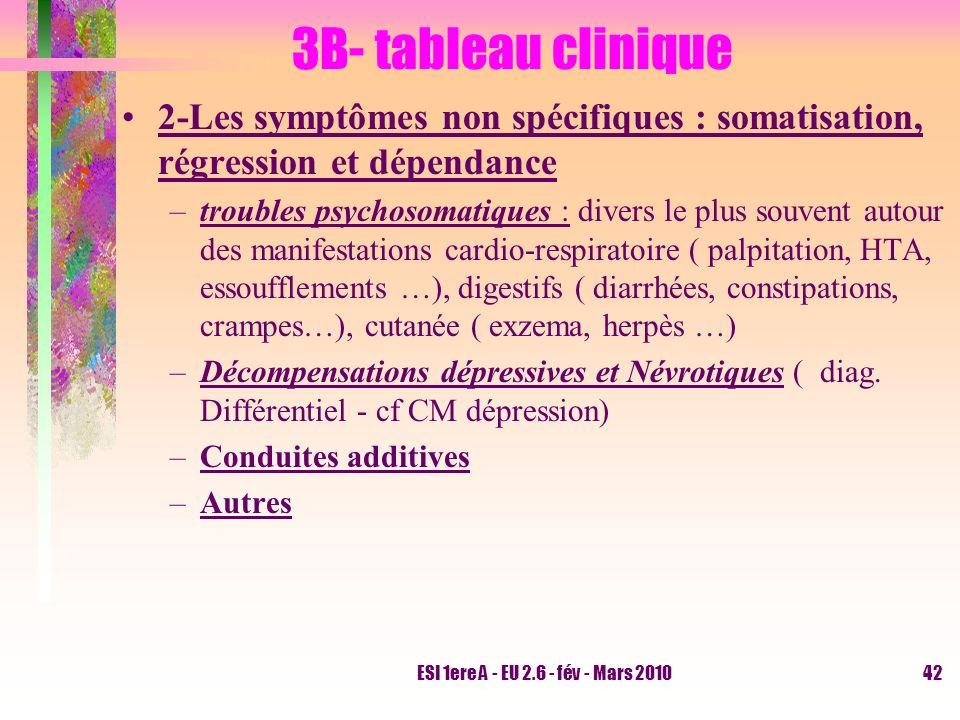 3B- tableau clinique 2-Les symptômes non spécifiques : somatisation, régression et dépendance.